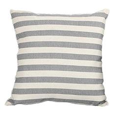 Woaills Linen Throw Pillow Cases, Stripe Print Simple Square