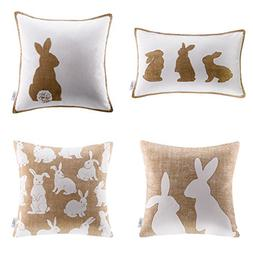 Ashler Throw Pillow Cover Set of 4 Beige and White Rabbits 1