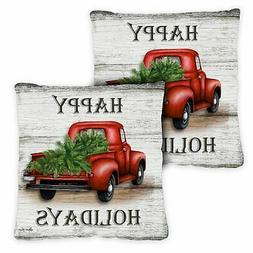 Toland Red Truck Holidays 18 x 18 Inch Indoor Pillow Case