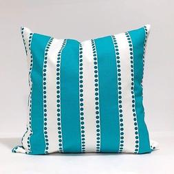True Turquoise Lulu Stripe Home Decor Throw Pillowcase, Stri
