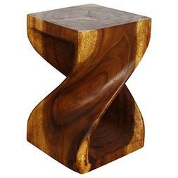 HAUSSMANN Twist Stool 12x12x18 inch H Sust Monkey Pod Wood w
