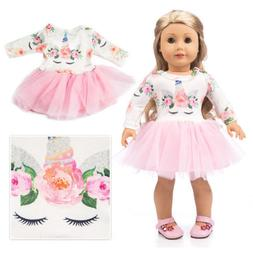 Unicorn Doll Clothes Dress Outfits For 18 inch Girl Accs