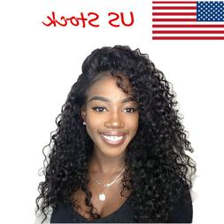 US 18inch Pre Plucked Lace Front Wig Deep Wave Wavy Full Hea