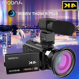 #USA# Andoer 4K HD 48MP WiFi Touchscreen Night Sight Digital