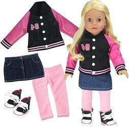 Sophia's 18 Inch Doll 4 Pc. Set, Varsity Jacket/ Coat with S