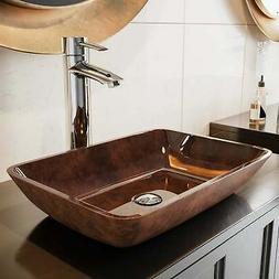 VIGO VG07089 Rectangular Russet Glass Vessel Bathroom Sink,