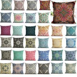 Vintage Boho Pattern Pillow Case Cotton Linen Sofa Cushion C