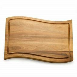Savora Wave Acacia Cutting Board with Groove, 12-Inch-by-18-