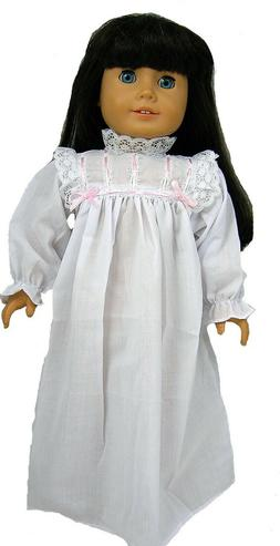 White and Pink Cotton Nightgown Fits 18 inch American Girl D