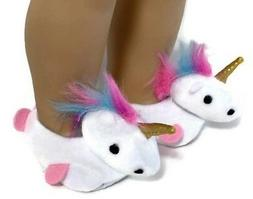 White Unicorn Slipper Shoes made for 18 inch American Girl D