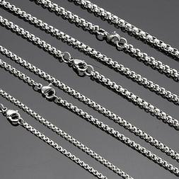 Wholesale Lots Silver Stainless Steel Box Chain Necklace Hot