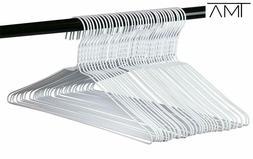 Wire Hangers Bulk - 100 White Metal Hangers - 18 Inch 14.5 G