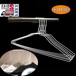 Wire Hangers In Bulk - 100 White Metal 18 Inch Thin Standard