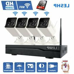 LESHP Wireless Security Camera System 1080p 4CH WIFI NVR wit