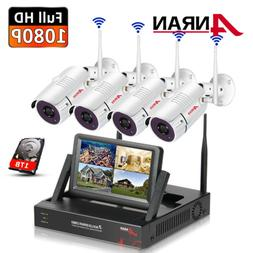 "Wireless Security Camera System 960P 4CH 1TB 7""Monitor Home"