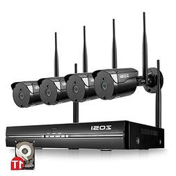 ZOSI 1080p Wireless Security Camera System,4 Channel HDMI NV