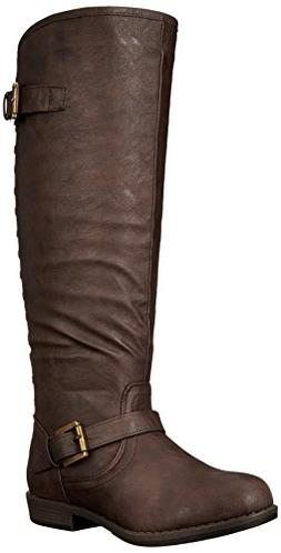 Journee Collection Women's Durango-wc Riding Boot, Brown Wid