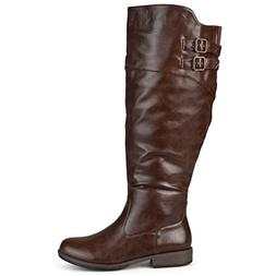 Brinley Co Women's Vega Knee High Boot,Brown,9 Wide/Wide Sha