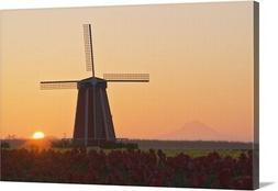 Wooden Shoe Tulip Farm At Sunrise With Canvas Wall Art Print