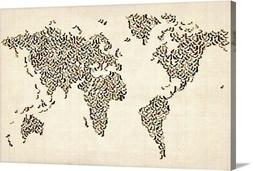 World map made up of shoes Canvas Wall Art Print, Map Home D