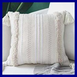 Woven Tufted Tassel Throw Pillow Covers Fringe Sofa Couch Cu