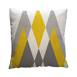 Yellow Geometric Pattern Throw Pillow Case Cushion Cover Hom