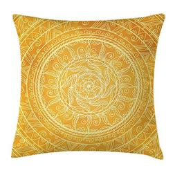 Yellow Mandala Throw Pillow Cushion Cover,Lace Style Authent