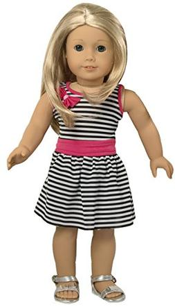 Ebuddy Zebra Strip Summer Party Dress Clothes Fits 18 Inch D